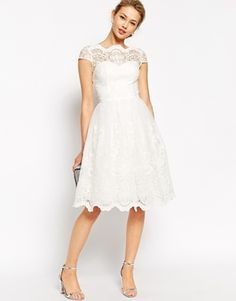 1950s style wedding dress  - Chi Chi London Premium Lace Midi Prom Dress with Bardot Neck