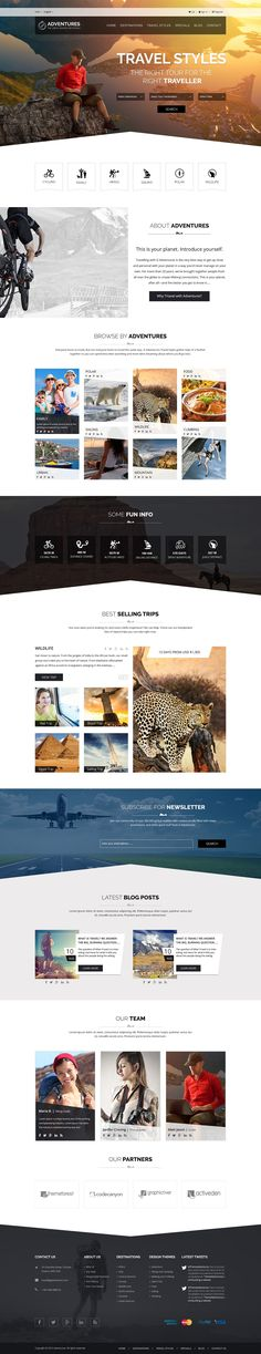 Buy Adventures – Adventures and Tourism PSD Template by Designer_Machine on ThemeForest. Adventures – Adventures and Tour PSD Template Adventures is a clean, creative and modern PSD template for Tour and Ad. Website Layout, Web Layout, Website Ideas, Website Designs, Website Themes, Photoshop, Mise En Page Web, Travel Website Design, Site Vitrine