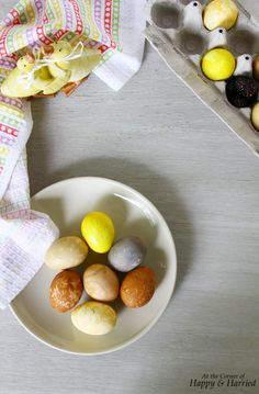How To Dye Eggs Naturally. Naturally Dyed Easter Eggs with just a few pantry staples, learn how to make natural looking dyed eggs. I even love the little speckles, lines and imperfections on them! From pastel purplish grey to vibrant yellows to dark browns, the perfect color is in your kitchen!! #happyandharried #Easter #eggs #dye #natural #color #non-toxic #pastel