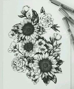 Inspiration for arm piece Cute Tattoos, Beautiful Tattoos, Body Art Tattoos, Tattoo Drawings, New Tattoos, Small Tattoos, Sunflower Tattoos, Cover Up Tattoos For Women Before And After, Flower Tattoos On Shoulder