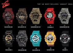 Top ten selling G-Shocks of August 2014 Best Watches For Men, Luxury Watches For Men, Cool Watches, Men's Watches, G Shock Watches, Casio G Shock, Sport Watches, G Shock White, Dream Watches