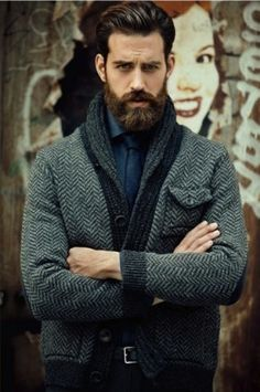 """""""Professor 24 Years-Old"""" here looks mighty swank in his military grade herringbone cardigan. I just know he's thinking deep thoughts that the rest of us haven't begun to fathom."""