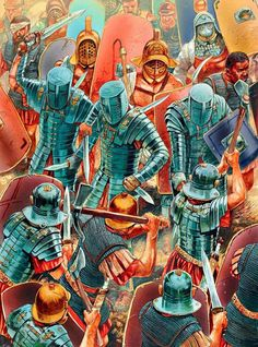 A Roman Legion battling gladiators in the Aeduian Rebellion of 21 AD, with Crupellarii forming the front line