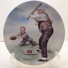 This is Batter Up from the Heritage series by Knowles. Available at www.rockwellplates.com Norman Rockwell Plates, Display, Illustration, Sports, Painting, Image, Collection, Floor Space, Hs Sports