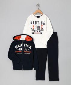 Orange, White & Black Hoodie Set - Toddler