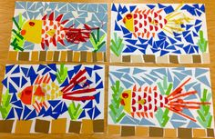 Art with Mr. Giannetto: 2013 - Grade Fish Mosaics like a puzzle. By cutting and gluing various paper shapes and sizes the students created an underwater scene. effect by manipulating the paper through folding and curling different parts of the fish. Art Lessons For Kids, Art Lessons Elementary, Art For Kids, Paper Mosaic, Mosaic Art, Collages, Animal Art Projects, Animal Crafts, Shape Collage