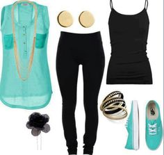 Black cammy with light blue top and vans with black leggings. Cute but simple.