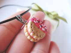 Cookie necklace Miniature food necklace Polymer by EufloriaArt, $13.50