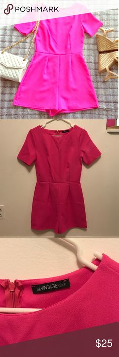 Bright Pink Romper Size Small The Vintage Shop Bright Pink Romper Size Small. Vibrant Barbie pink color! Marshalls Dresses