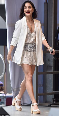 Don't forget the legs! Vanessa Hudgens wore a romper while attending theStars In The Alley event in NYC on Wednesday