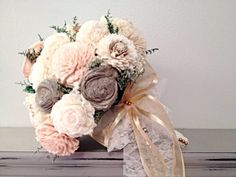Lg. Wedding Bouquet made with sola flowers - choose your colors - balsa wood - Alternative bouquet - bridesmaids bouquet