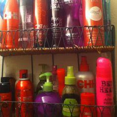 *New Hair Product Bathroom Storage* Idea!!!Thanx Auntie Bev. D.I.Y