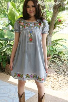 Vintage Mexican style Puff sleeves Dress GRAY by EmbroideredShop, $69.00 •#Hand embroidered  #cotton #Hippi #Boho #Vintage style #Mexican style #crochet #reto #Clothing #blouse #tunic #women #shirt #handmade #Dress