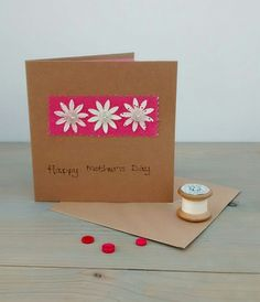 Mothers Day Card, Happy Mother's Day, Textiles, Flowers and Buttons by KathHeywoodDesigns on Etsy