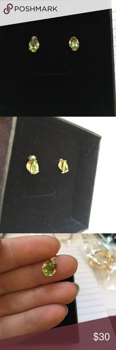 10k gold earrings green stone New never worn. Not sure what the stone is. Metal is 10k solid gold. Jewelry Earrings