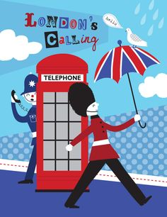 'London Red Box Phone' - graphics - nina seven illustrations London Poster, London Art, London Pride, London Quotes, London Illustration, London Calling, Union Jack, Illustrations, Bedroom Decor