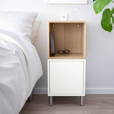 EKET Storage combination with legs - white, white stained oak effect - IKEA Ikea Eket, Oak Stairs, Personal Storage, Garage Shelving, White Light, White White, White Stain, Kallax, Home Decor Furniture