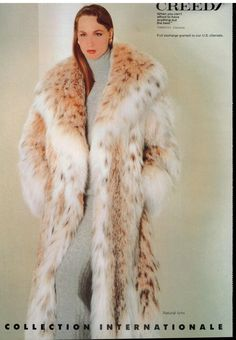 1986 FURS : CREEDS : Russian Sable , Beaver , Lynx & Fox Print AD