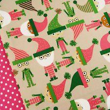 Robert Kaufman Jingle Vintage Christmas elves fabric / stocking santa father dot