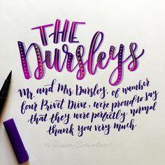 "347 Likes, 17 Comments - Alisse Courter (@alissecourter) on Instagram: ""day 2 of lettering harry potter with @amandakammarada and @calligraphynerd : the dursleys . . . .…"""