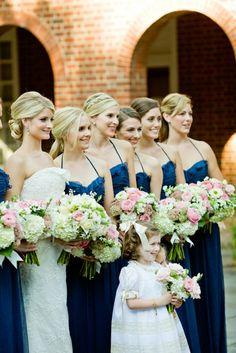 Navy bridesmaid dresses in a romantic Memphis wedding. | Brideside