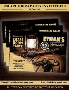 Escape Room Digital printable party invitation mystery birthday