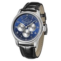 Parnis Automatic Men's Power Reserve Moon Phase Business Mechanical Watches Auto Date