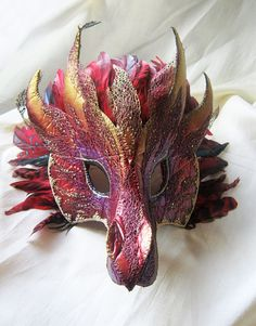 Red Fire Dragon Mask Handmade Mask Fantasy by LaPetiteMascarade