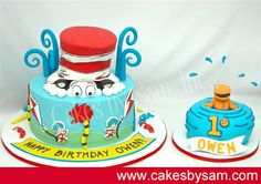 Dr Suess cake and smash cake this is what I want for Landon's first birthday too cute! Dr Seuss Birthday Party, First Birthday Themes, Baby First Birthday, First Birthdays, Cake Birthday, Birthday Ideas, Dr Suess Cakes, Hat Cake, Occasion Cakes