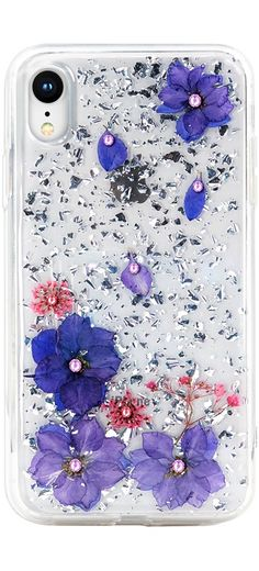 8aa9809afb32 Pressed Flower Case with Bling Rhinestones Luxury Design for iPhone XS Max/ XS/XR/X