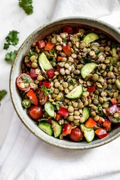 Fresh and Easy Green Lentil Salad Recipe This green lentil salad recipe is healthy, fresh, and totally delicious! It makes a great light meal or side dish. Fresh Fish Recipes, Healthy Salad Recipes, Light Recipes, Healthy Meals, Green Lentil Salad, Green Lentils, Lentil Salad Recipes, Salad Recipes For Dinner, Gastronomia