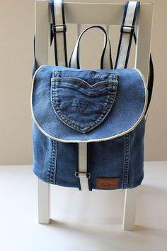 Recycle Jeans, Festival denim bag, Upcycle Hobo backpack, U Denim Backpack, Small Backpack, Backpack Bags, Floral Denim, Blue Denim, Navy Blue, Blue Jeans, Jeans Denim, Denim Bag