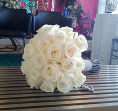 Bridal Bouquet. Ivory Opened Roses. Crystals. Weddings. Birthdays, Anniversaries. Terra Flowers Miami. For more styles, please visit www.TerraFlowersMiami.com or www.facebook.com/TerraFlowersMiami
