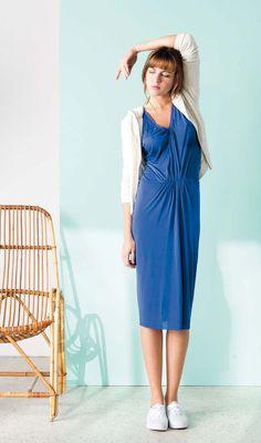 dress RIA86 indigo - hoodie zipper BOS120 pearl