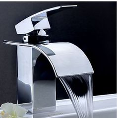 Elegant Chrome Brass Waterfall Bathroom Basin Faucet Single Handle Hole Sink Mixer  Tap