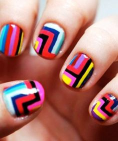 ✔️Colorful Tribal Nails For Short Nails #colorful #nail www.loveitsomuch.com