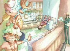 Usopp, Sanji, Chopper, Luffy, funny, kitchen, refrigerator, locked; One Piece