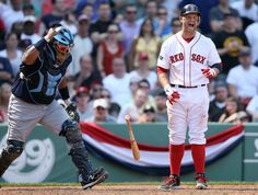 BOSTON, MA - APRIL 16: Cody Ross #7 of the Boston Red Sox reacts after striking out to end the inning as Jose Molina #28 of the Tampa Bay Rays celebrates the win on April 16, 2012 at Fenway Park in Boston, Massachusetts. The Tampa Bay Rays defeated the Boston Red Sox 1-0. (Photo by Elsa/Getty Images)