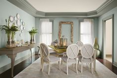 wall color House of Turquoise: Wythe Blue Wythe Blue, Palladian Blue, Dining Room Blue, Dining Room Colors, Dining Area, Dining Rooms, House Of Turquoise, Turquoise Color, Color Blue