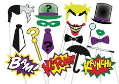 superhero party props | Superhero Photo booth Party Props Villains Set - 18 Piece PRINTABLE ...