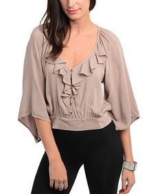Take a look at this Mocha Ruffle Button-Up Top on zulily today!