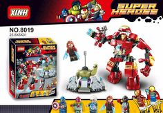 XH 8019 304PCS bricks Building Super Heroes Avengers Ultron Minifigures Iron Man Hulk Buster action Figures Compatible with lego