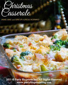 Christmas Casserole - Emeril Lagasse's Breakfast Casserole with Broccoli, Ham, and Cheese http://www.partybluprintsblog.com/the-menu/main/holiday-breakfast-casserole-recipe/