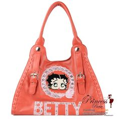 Betty Boop Purses and Handbags | Original Leatherette Betty Boop Handbag w/ Betty Wording And Emblem in ...