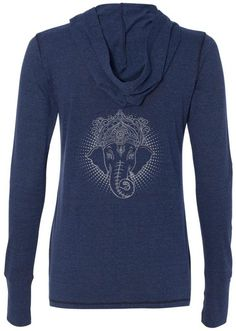 "Ladies ICONIC GANESHA Tri-Blend Hoodie, 2XL Navy (mid-back print). The great Ganesh reins on this cool ladies hoody shirt!. Moisture wicking pullover has thumb holes on the cuffs. 50 Polyester - 38% Cotton - 12% Rayon. Image appears on the ""back"" of the garment. There is no print of the front. ""Yoga Clothing for You"" guarantees your satisfaction on every purchase!."