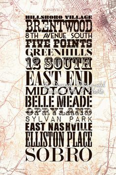 "Nashville Neighborhoods, Three. 8"" x 12"" Nashville Tennessee Neighborhood City Map Fusion Paintographic Fine Art Print. $25.00, via Etsy."