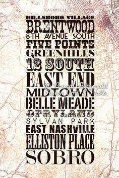 "Nashville Neighborhoods, Three. 8"" x 12"" Nashville Tennessee Neighborhood City Map Fusion Paintographic Fine Art Print. $25.00, via Etsy."