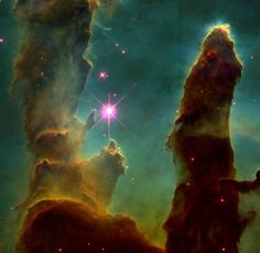 Scientific Research. Eagle Nebula is the name of this. Taken with the Hubble Telescope in space, we try to know what is inside it or beyond, for now we can not know, but we can continue to investigate to find new characteristics.