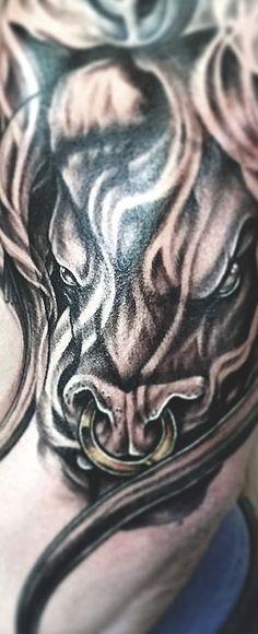 Bull Tattoos, Taurus Tattoos, Zodiac Sign Tattoos, Zodiac Signs, Bison Tattoo, Cool Tats, Sleeve Tattoos, Man Cave, Ballerina