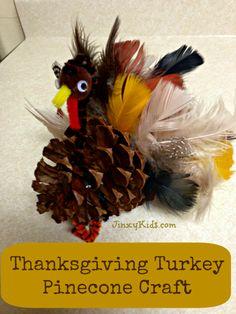Turkey Pinecone Craft - Thanksgiving Fun! - Jinxy Kids